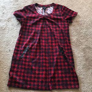 En Focus knit red & black herringbone dress